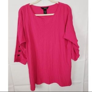 Ali Miles Pink 3/4 Sleeve Textured Top Blouse